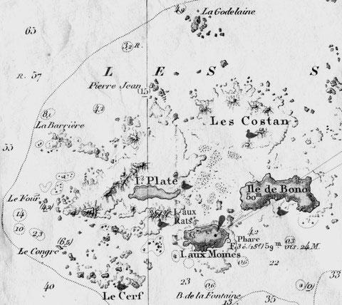 Carte marine de l'ouest des Sept-Iles, la garnison est basée sur l'île aux Moines