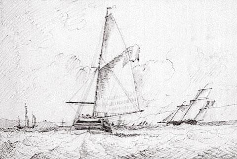 Cotre et lougres français entrant en rade de Brest  Edward Bamfylde (National Maritime Museum)