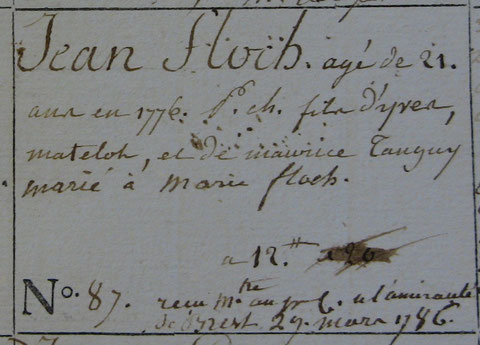 Titre de la matricule de Jean-Floch 6P3 20 Officiers mariniers et matelots du sous-quartier de Roscoff (1776-1787)