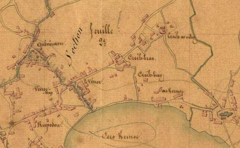 Détail du plan du cadastre de 1847, l'ile de Batz est en pleine croissance depuis le cadastre de 1809 beaucoup de maisons nouvelles sont apparues
