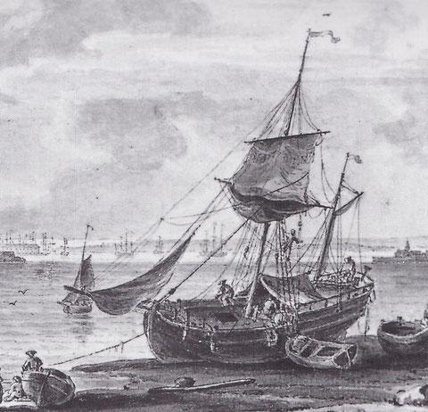 Dogre de cabotage à l'échouage à Lorient, l'Alexandre devait être à peine plus gros, on a du mal à imaginer  à équipage de plus de 50 hommes, partant pour plusieurs semaines sur un si petit navire dessin de Pierre Ozanne