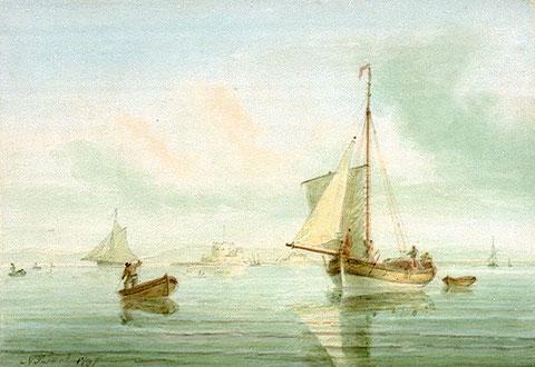Le cotre des douanes de Morlaix  le Voltigeur était certainement plus fort et mieux armé que ce joli cotre anglais sur ce tableau de  Nicholas Pocock (National Maritime Museum)