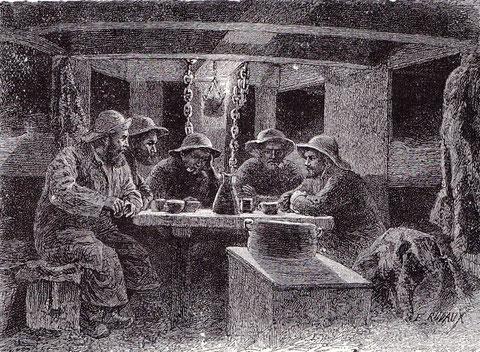 Le poste avant, avec sa lampe à l'huile de foie de morue (illustration de Pêcheur d'Islande de Pierre Loti par Edmond Rudaux)