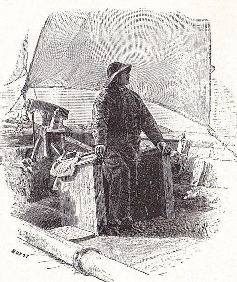 Matelot en ciré sortant du poste avant (illustration de Pêcheur d'Islande de Pierre Loti par Edmond Rudaux)