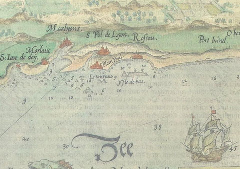 Extrait d'une carte hollandaise de 1583 de Lucas Jansz Waghenaer. On y voit bien deux moulins à vent sur l'île de Batz et l'indication du mouillage de la rade
