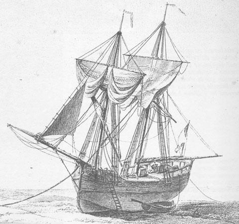 Brick marchand à l'échouage,  la flottaison est en faible différence entre l'avant et l'arrière