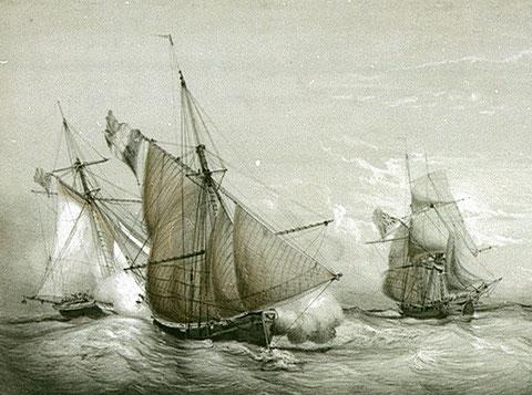 Combat du Cutter l' Alerte de St Malo, 18 juin  1799 Contre deux Gardes Cotes Anglais (National Maritime Museum)