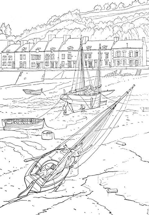 Cancale le port de la Houle, bisquine et sloup à l'échouage, les béquilles sont amarrées à l'horizontale pour que le  bateau échoue sur le flanc