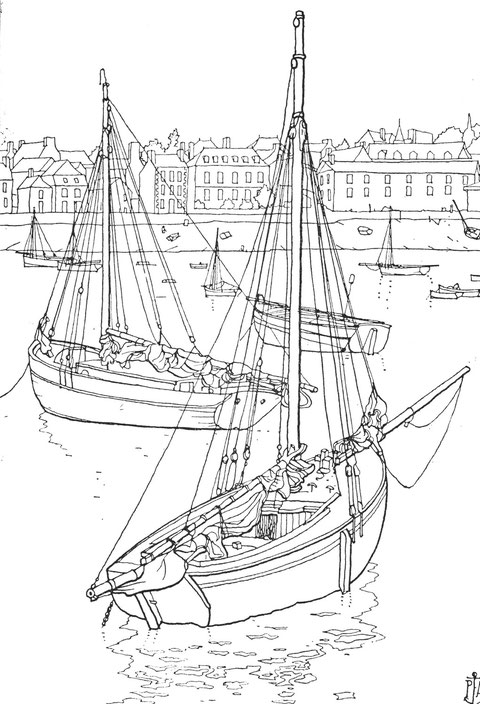 Portrieux fort sloup creux demi ponté avec un large  passavant, les pilotes de Portrieux armaient à la pêche aux homards aux casiers