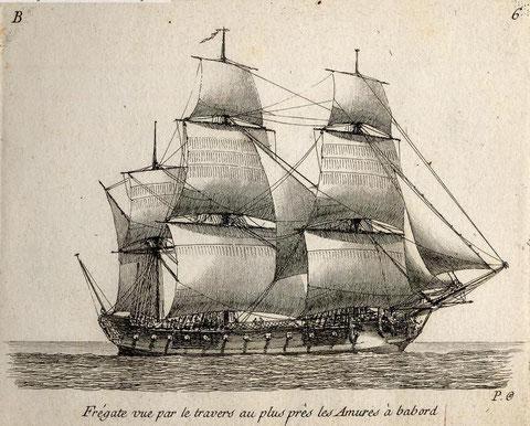 Frégate de 8 telle la Danaé gravure de Pierre Ozanne