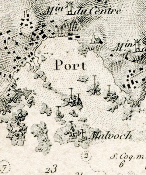 Extrait Carte de Beautemps Beaupré de 1837 , sans le mole, le symbole T désigne les endroit qui ne couvre jamais, la graphie utilisée pour Malvoc'h montre bien une île qui se prolonge à l'Est par un plateau de rochers