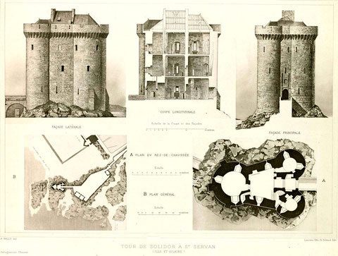 Plan de la tour Solidor au XIXème avant restauration