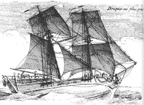 Gravure de Pierre Ozanne « Brique au plus près » on imagine le capitaine Guéguen et son équipage