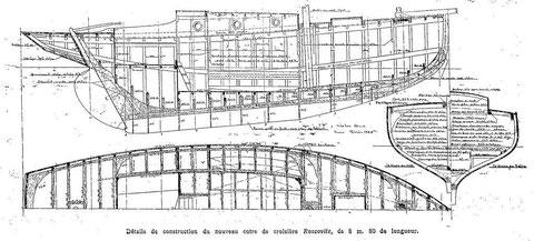 Plan de charpente et des emménagements du « Roscovite » de Victor Brix