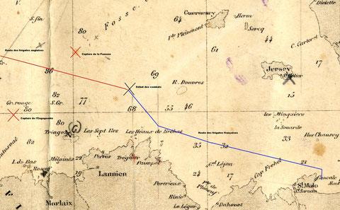 Carte des lieux du combat de frégates du 23 avril 1794