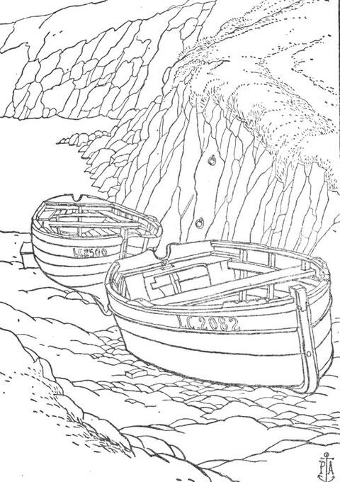 Ouessant petit canot et plate remontés dans l'anse de Galgrac'h avant que la cale ne soit pavé.