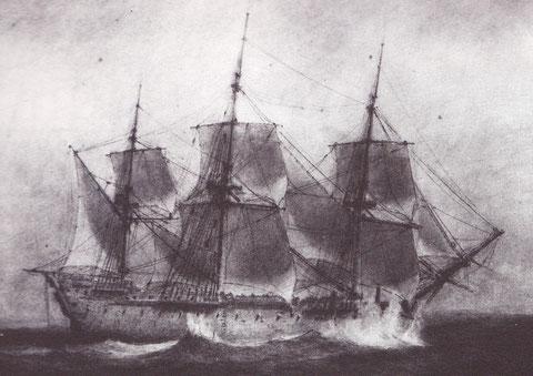 Vaisseau de 74 canons par bonne brise, dessin de Pierre Ozanne