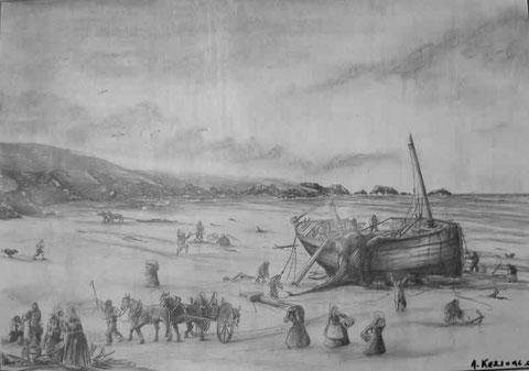 Pillage d'une épave sur la côte