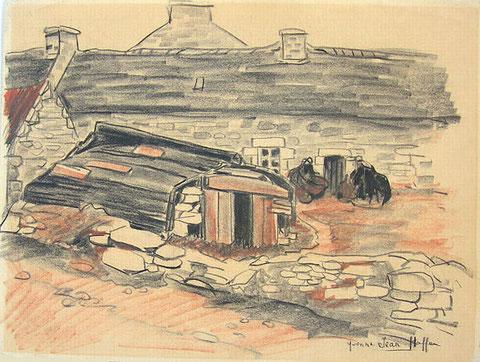 Cette maison de l'île, avec le canot coupé servant d'abri illustre bien, les deux aspects maritime et agricole, dessin de Yvonne Jean-Haffen