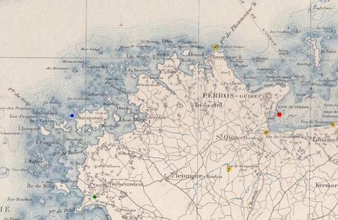 En rouge, la station de sauvetage de Perros, en vert le sémaphore de Bihit sur la commune de Trébeurden, en bleu le lieu du naufrage pointe de Toul ar Staon à l'île Grande sur la commune de Pleumeur-Bodou
