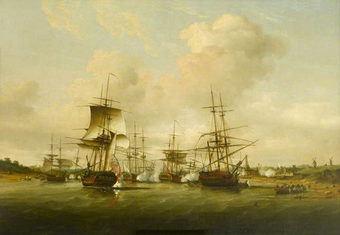"Peinture anglaise de l'attaque de Cancale ""Action off the Coast of France, 13 May 1779"" par Thomas Luny coll The Foundling Museum Londres, on imagine le matelot Jean Floch fuyant l'attaque anglaise dans la chaloupe sur la droite"