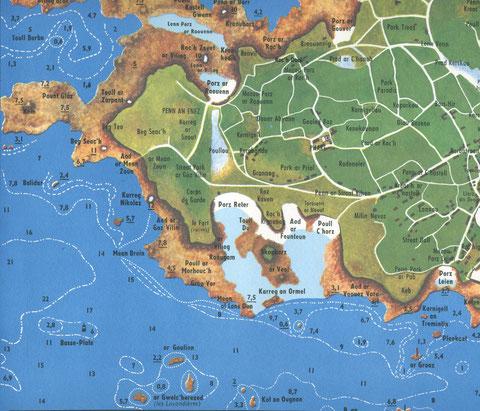 Dans l'ouest du chenal de l'île de Batz un rocher a garder le nom de Balidar (carte de Nicolas Roualec)