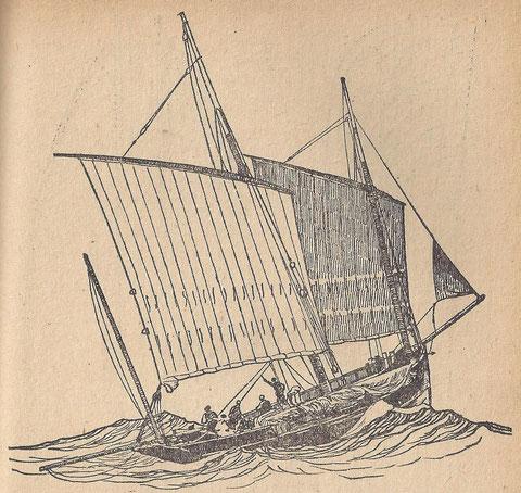 Bisquine au près tribord amure sous basses voiles à un ris et petit foc, le chalut à perche est en abord sur le pavois