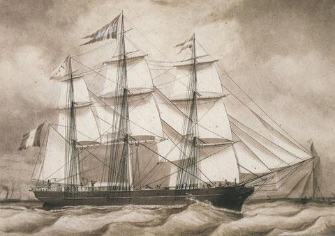 La belle Anaïs, lavis de louis Garmain 1861, typique des petits trois mâts antérieur aux clippers. Dans les années 1868 il appartient à l'armement Maletret et Fils de Rouen et est commandé par le capitaine  Richard