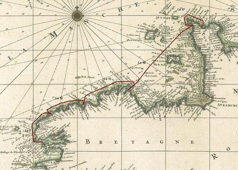 Routes des galères, sur la carte hollandaise de Visscher 1694
