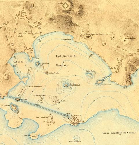 Port de l'île de Batz extrait du plan de l'atlas des ports de France 1877