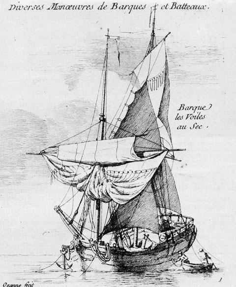 Les bricks étaient également appelés barques, gravure de Pierre Ozanne, on distingue les deux pompes au pied du grand mât
