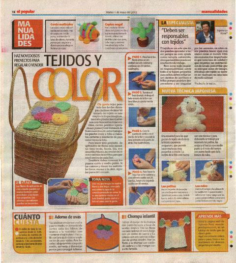 Nota diario El Popular mayo 2012 Tejiendoperu