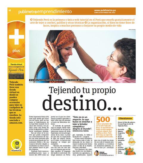 Tejiendoperu en Publimetro edición Perú