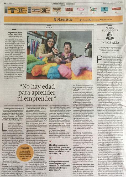 Tejiendo Perú conversando con María Fernandez y Giancarlo Shibayama del diario El Comercio.  Entrevista para la sección Postdata (edición impresa).