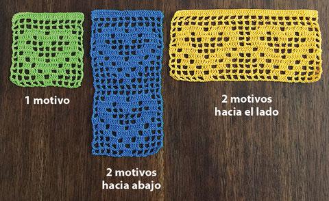 Cenefa para aplicar tejida a crochet con diseño de corazones