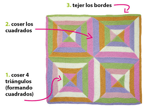 Paso a paso: cubrecama o cobija con diseño geométrico tejida en dos agujas o palitos