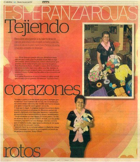 tejiendoperu en el diario trome. Perú
