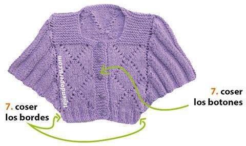 Saco con mangas murciélago tejido en dos agujas para niños