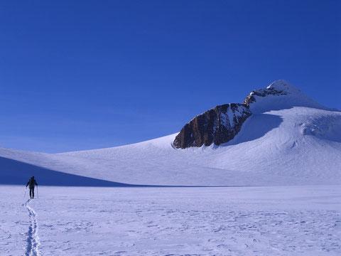 Hans auf dem weitläufigen Griesgletscher im langen Zustieg zum Blinnenhorn