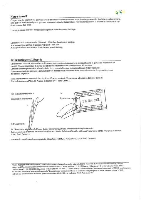 Contrat protection Juridique de la CAISSE D'EPARGNE  du 26 janvier 2008 page 4/5 voir site www.maisonnonconforme.fr