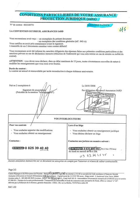 Contrat protection Juridique de la CAISSE D'EPARGNE  du 26 janvier 2008 page 2/5 voir site www.maisonnonconforme.fr