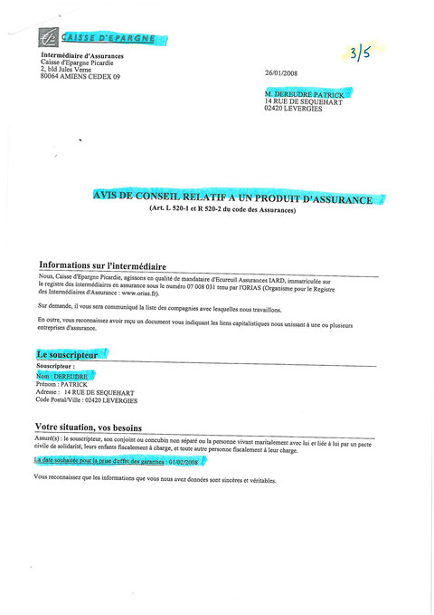 Contrat protection Juridique de la CAISSE D'EPARGNE  du 26 janvier 2008 page 3/5 voir site www.maisonnonconforme.fr