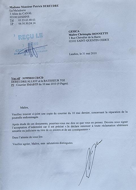 Le 31 Mai 2010 je remets au secrétariat de Maître Christophe DONNETTE BORDERLINE   EXPERTISES JUDICIAIRES ENTRE COPAINS www.jesuispatrick.fr