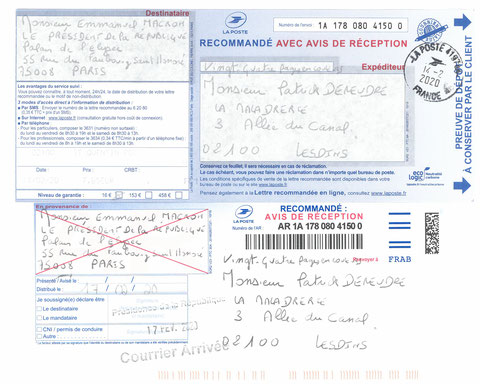 Accusé de Réception & Preuve de Dépôt Ma lettre recommandée N° 1A 178 082 4150 0 de Vingt-Quatre Pages en Couleurs du  14 Février 2020 à Monsieur Emmanuel MACRON le Président de la République Page de Gardewww.jesuispatrick.fr