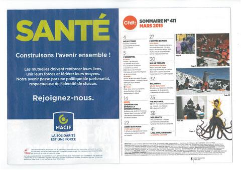 Magazine CFDT N°411 Mars  2015 avec avec son partenaire MACIF SANTE construison l'avenir ensemble !