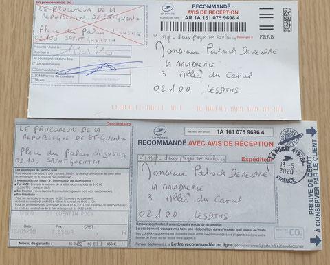 Ma plainte du 13 Mai 2020 auprès du Procureur de la République de Saint-Quentin à l'encontre des TAXIS VASSEUR SERVICES & salariés pour VIOLENCES EN BANDE ORGANISEE... www.jesuispatrick.fr