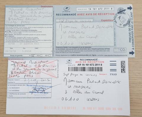 Ma toute dernière LRAR à MEDIAPART  du 04 Octobre 2019. JUSTICE MAFIA FRANCE... ALERTE ROUGE !!! J'ACCUSE... CORRUPTION au COEUR de la JUSTICE Monsieur le Prédident de la République et son Gouvernement www.alerterouge-france.fr