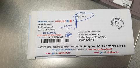 Ma lettre recommandée du 05 Février 2020 N° 1A 177 673 8690 2 de Six Pages en couleurs www.jesuispatrick.fr