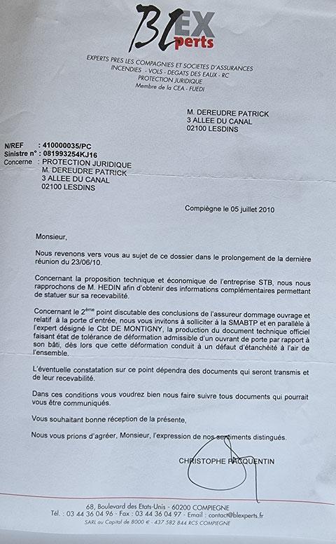Le 07 Juillet 2010 Monsieur Christophe PACQUENTIN de chez BL EXPERTS m'adresse un courrier  BORDERLINE   EXPERTISES JUDICIAIRES ENTRE COPAINS...  www.jesuispatrick.fr