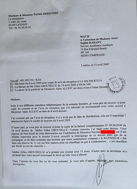 Le 15 Avril 2009 j'adresse un fax à la MACIF.     INACCEPTABLE  BORDERLINE      EXPERTISES JUDICIAIRES ENTRE COPAINS... www.jesuispatrick.fr